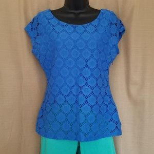 Banana Republic top blue knit lace cap sleeve
